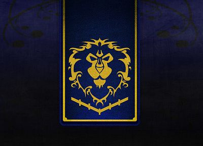 black, World of Warcraft, gold, textures, lions, Alliance, crests - random desktop wallpaper
