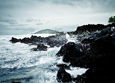water, waves, rocks, shore, ripples, splashes, sea - desktop wallpaper