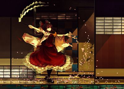 brunettes, video games, Touhou, dress, houses, long hair, ribbons, brown eyes, pantyhose, Miko, Hakurei Reimu, bows, red dress, flower petals, reflections, Japanese clothes, gohei, detached sleeves, ofuda, hair ornaments - random desktop wallpaper