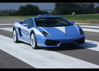 cars, police, vehicles, Lamborghini Gallardo, italian cars, front angle view - desktop wallpaper
