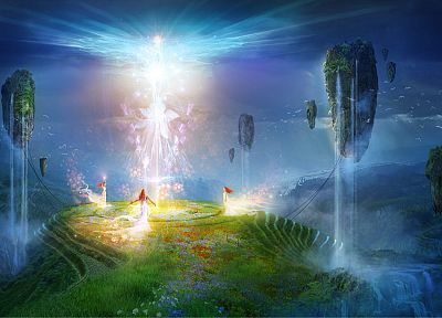 lights, floating, grass, rocks, fairies, fantasy art, white dress, Philip Straub - random desktop wallpaper
