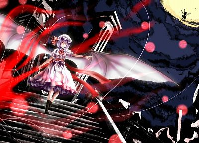 Touhou, wings, ruins, flying, Moon, sparkles, weapons, stairways, purple hair, red eyes, short hair, spears, Flandre Scarlet, hats, Remilia Scarlet, anime girls, Gungnir, vampire - desktop wallpaper