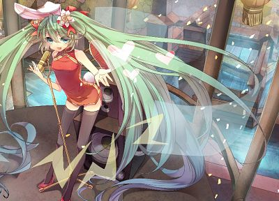 Vocaloid, flowers, Hatsune Miku, long hair, speakers, animal ears, green hair, twintails, hearts, house, chinese dress, aqua eyes, anime girls, microphones, singing, Chinese clothes - related desktop wallpaper