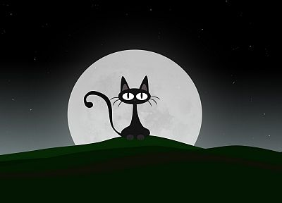 green, cats, Moon, gray, hills, artwork, 3D - related desktop wallpaper