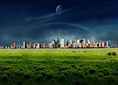 fantasy, planets, grass, fields, cities - random desktop wallpaper