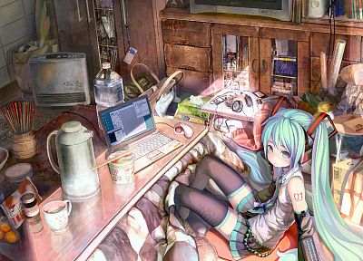 headphones, Vocaloid, Hatsune Miku, blue hair, laptops, detached sleeves - random desktop wallpaper