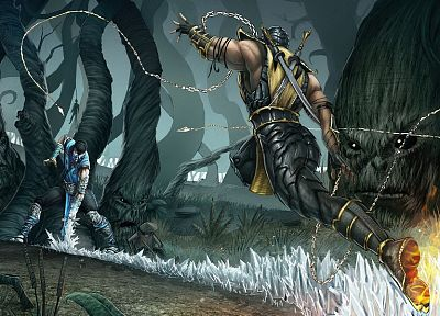 scorpion, Mortal Kombat, anime, Sub-Zero - related desktop wallpaper