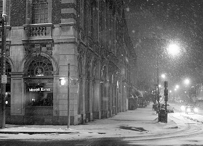 landscapes, winter, snow, cityscapes, streets - related desktop wallpaper