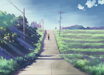 Makoto Shinkai, scenic, 5 Centimeters Per Second, artwork, anime, biking - related desktop wallpaper