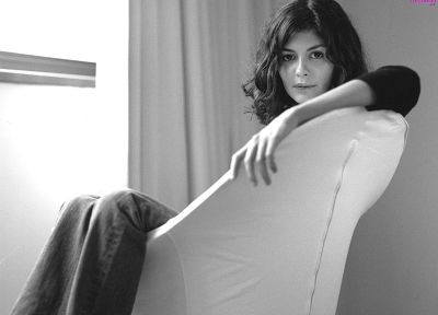 Audrey Tautou, monochrome, greyscale - related desktop wallpaper