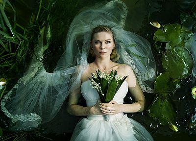 women, water, nature, plants, Kirsten Dunst, Melancholia (movie), water lilies - random desktop wallpaper