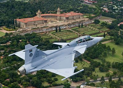 Jas 39 Gripen, South African Air Force, Pretoria, Union Buildings - random desktop wallpaper