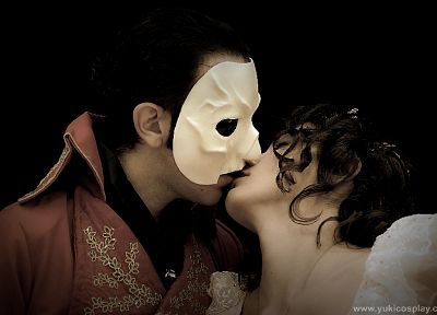 Emmy Rossum, masks, Gerard Butler, musical, Phantom of the Opera - random desktop wallpaper