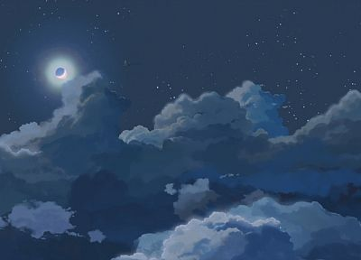 clouds, night, stars, Moon, skyscapes - desktop wallpaper