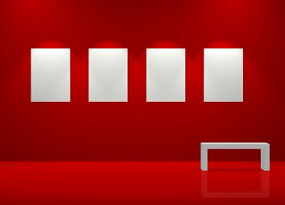 red, wall, room, frames - random desktop wallpaper
