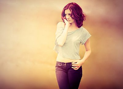 women, jeans, Susan Coffey, redheads - desktop wallpaper