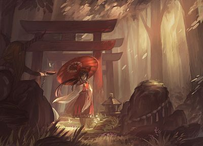 brunettes, blondes, water, video games, nature, Touhou, trees, forests, demons, stones, horns, long hair, Oni, Miko, red eyes, gate, streams, Hakurei Reimu, bows, red dress, artwork, sitting, torii, chains, umbrellas, sake, shrine maiden outfit, cuffs, Ib - related desktop wallpaper