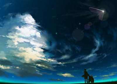 clouds, scenic, UFO, artwork, original characters - related desktop wallpaper