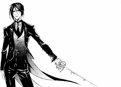 brunettes, suit, tie, Kuroshitsuji, Sebastian Michaelis, monochrome, anime boys, manga, swords, white background, butler - random desktop wallpaper