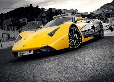 cars, supercars, selective coloring, Marussia, Marussia B1, russian cars - random desktop wallpaper