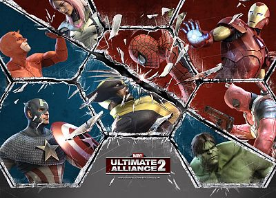 Hulk (comic character), Iron Man, Spider-Man, Captain America, Wolverine, Deadpool Wade Wilson, Marvel Comics, The Ultimates, Marvel: Ultimate Alliance - related desktop wallpaper