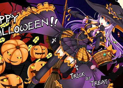 witch, dress, blue eyes, Halloween, Moon, long hair, thigh highs, white hair, candies, pumpkins - random desktop wallpaper