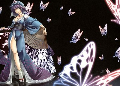 video games, Touhou, Saigyouji Yuyuko, Japanese clothes, anime girls - random desktop wallpaper