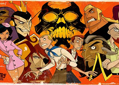 skulls, Molotov Cocktease, The Venture Bros., adult swim, The Monarch, Hank Venture, Dean Venture, Dr. Girlfriend, Brock Samson, Dr. Orpheus, Dr. Venture, H.E.L.P.eR, Phantom Limb, Triana Orpheus - random desktop wallpaper