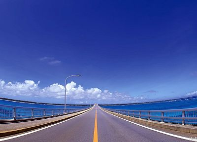 clouds, bridges, roads, skyscapes, blue skies - related desktop wallpaper