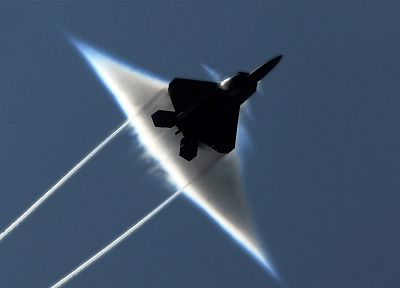 aircraft, military, F-22 Raptor, contrails, sound barrier - desktop wallpaper