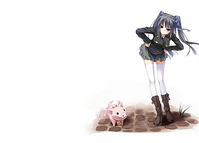 thigh highs, twintails, pigs, simple background, anime girls - random desktop wallpaper