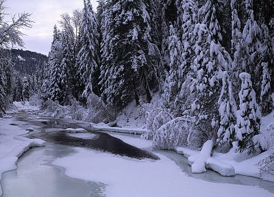 mountains, landscapes, nature, winter, snow, trees, forests, rivers, multiscreen - desktop wallpaper