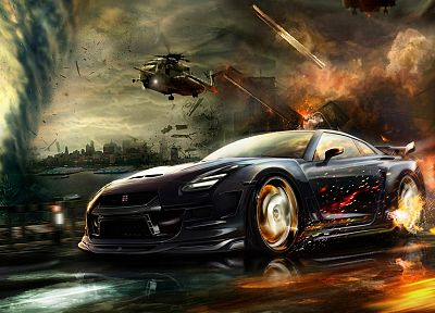 helicopters, explosions, Nissan, vehicles, sports cars, watercourse, Nissan Skyline GT-R, Nissan GT-R R35 - desktop wallpaper