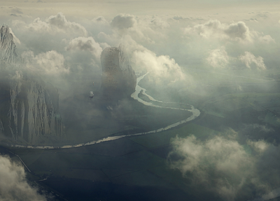clouds, landscapes, flying, ships, artwork, Desktopography, rivers - random desktop wallpaper
