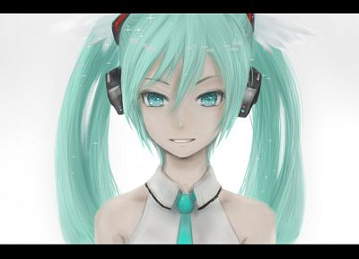 headphones, Vocaloid, Hatsune Miku, tie, green eyes, green hair, twintails, simple background, bare shoulders - desktop wallpaper