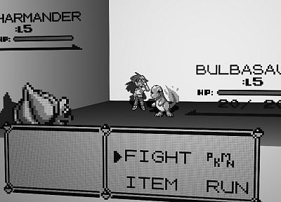 3D view, Pokemon, video games, Bulbasaur, grayscale, Charmander - desktop wallpaper