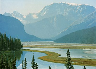 water, mountains, landscapes, Canada, Alberta - random desktop wallpaper