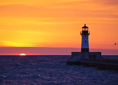 sunset, ocean, lighthouses - duplicate desktop wallpaper