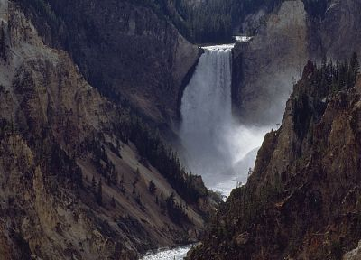 mountains, forests, Wyoming, Yellowstone, waterfalls, rivers, National Park - related desktop wallpaper