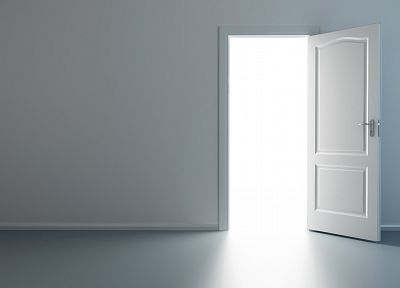 minimalistic, white, room, interior, doors - desktop wallpaper