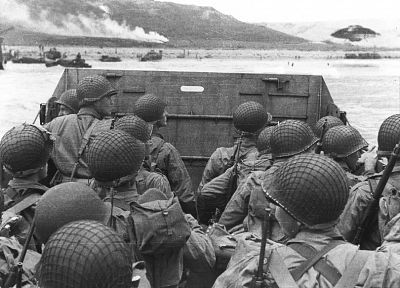 war, grayscale, US Army, World War II, D-Day, monochrome - desktop wallpaper