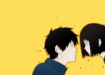 Welcome to the N.H.K., simple background, Nakahara Misaki, yellow background, Satou Tatsuhiro - desktop wallpaper
