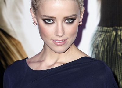 blondes, women, actress, Amber Heard, earrings - desktop wallpaper