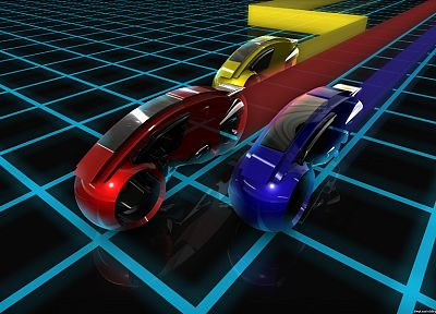 cars, grid, Tron, racing, lightcycle - random desktop wallpaper