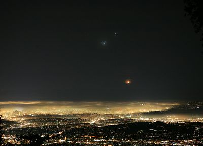 landscapes, night, architecture, Moon, buildings, Jupiter, California, Los Angeles, scenic, city lights, Venus, cities, Mount Wilson Observatory - related desktop wallpaper
