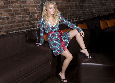 blondes, legs, women, actress, Hayden Panettiere, high heels, sofa - related desktop wallpaper