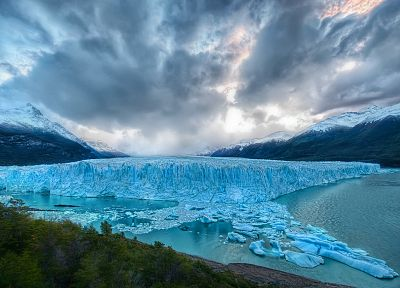 ice, mountains, clouds, landscapes, nature, glacier - desktop wallpaper