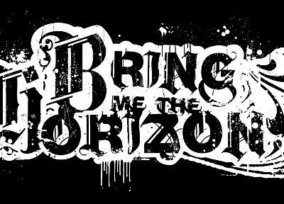 black and white, Bring Me The Horizon, logos, black background - random desktop wallpaper