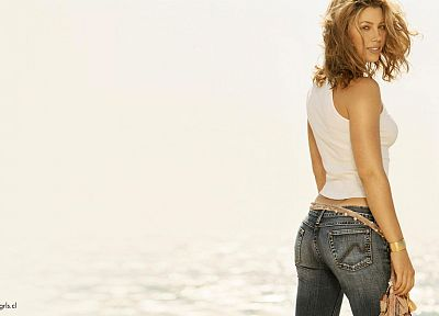 blondes, women, jeans, models, Jessica Biel - related desktop wallpaper