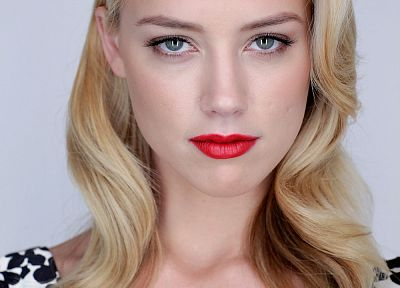 blondes, women, lips, Amber Heard, faces - desktop wallpaper